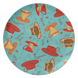 Red & Turquoise Coffee Cup Pattern with Words Dinner Plate
