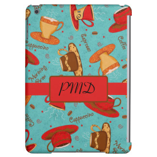 Red & Turquoise Coffee Cups Name Monogram Initial Cover For iPad Air