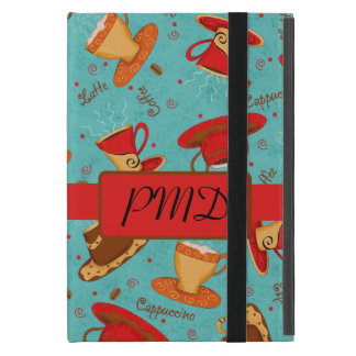 Red Turquoise Coffee Cups Name Monogram Initial Cover For iPad Mini