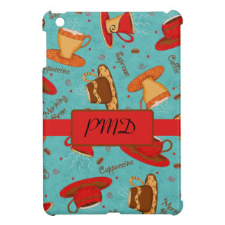 Red & Turquoise Coffee Cups Name Monogram Initial Cover For The iPad Mini