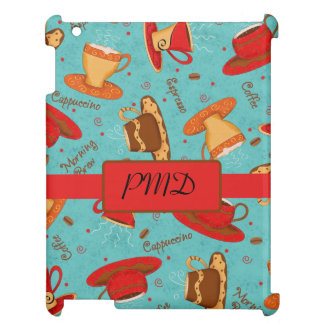 Red & Turquoise Coffee Cups Name Monogram Initial iPad Cases