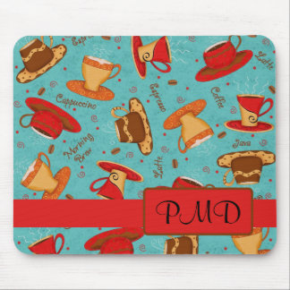 Red Turquoise Coffee Cups Pattern Monogram Mouse Pad