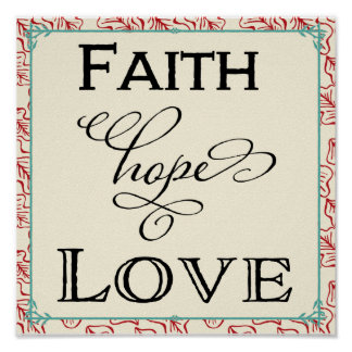 Red & Turquoise Faith Hope Love Typography Poster