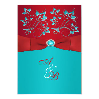 Red Turquoise Floral PRINTED Ribbon Wedding Invite