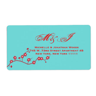 Red & Turquoise Floral Wedding Invitation Stamps Label