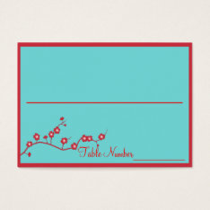 Red & Turquoise Floral Wedding Table Number Cards at Zazzle