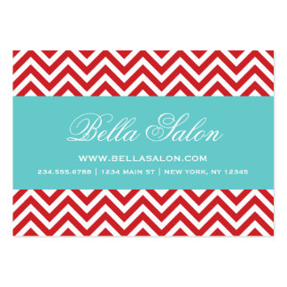 Red Turquoise Modern Chevron Stripes Business Card Templates