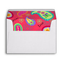 Red Turquoise Modern Paisley Pattern Envelope