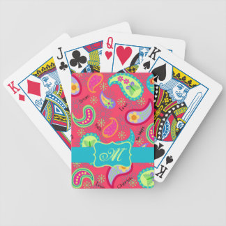 Red Turquoise Modern Paisley Pattern Monogram Bicycle Playing Cards