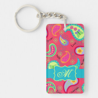 Red Turquoise Modern Paisley Pattern Monogram Double-Sided Rectangular Acrylic Keychain