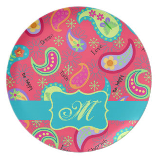 Red Turquoise Modern Paisley Pattern Monogram Plate