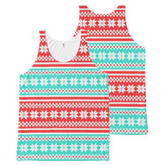 Red Turquoise Norwegian Christmas Sweater Pattern All-Over-Print Tank Top
