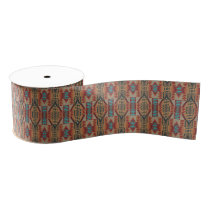 Red Turquoise Orange Brown Ethnic Pattern Art Grosgrain Ribbon