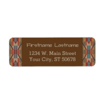 Red Turquoise Orange Brown Ethnic Pattern Art Label