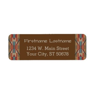 DeskDrawer Red Turquoise Orange Brown Ethnic Pattern Art Label