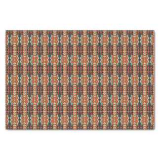 """Red Turquoise Orange Rustic Cabin Mosaic Pattern 10"""" X 15"""" Tissue Paper"""