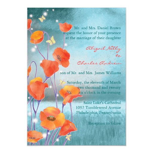 Red & Turquoise Poppy Formal Floral Wedding Personalized Invitation
