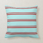 [ Thumbnail: Red & Turquoise Striped Pattern Throw Pillow ]