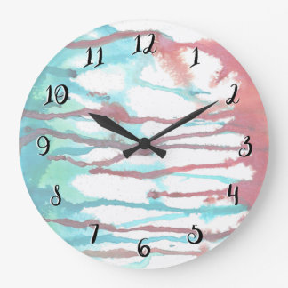 Red & Turquoise Watercolor Drips Large Clock