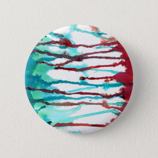 Red & Turquoise Watercolor Drips Pinback Button