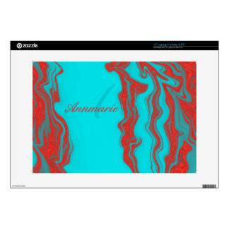 Red Turquoise Wavy Lines Monogram Personalized Laptop Decals