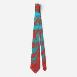 Red Turquoise Wavy Lines Tie