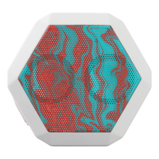 Red Turquoise Wavy Lines White Bluetooth Speaker