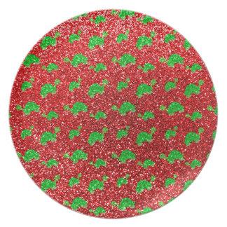 Red turtle glitter pattern dinner plate