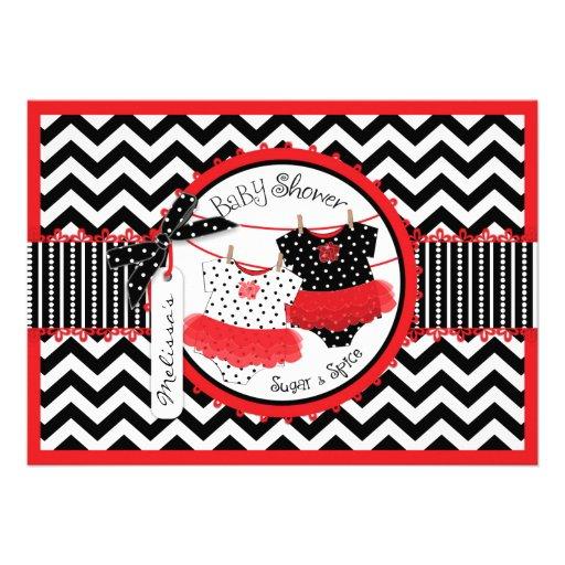 Red Tutus & Chevron Print Twin Girls Baby Shower Card