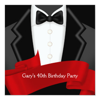 Red Tuxedo Mans Red Black 40th Birthday Party Card