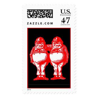 Red Tweedle Dee & Tweedle Dum Postage Stamp
