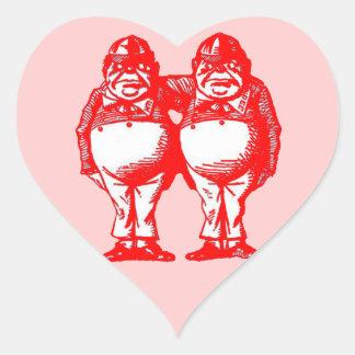 Red Tweedle Dee & Tweedle Dum Heart Stickers