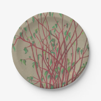 Red twigs, pastel drawing nature art tree branches paper plate