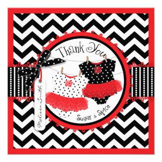 Red Twin Tutus Chevron Print Thank You Card