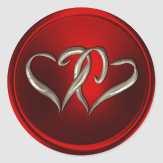 Red Two Silver Interlocked Hearts Envelope Seal Classic Round Sticker