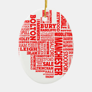 Red type map of Greater Manchester Ceramic Ornament