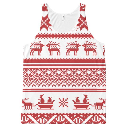 Ugly Christmas Sweaters Patterns.Red Ugly Christmas Sweater Patterns All Over Print Tank Top