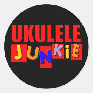 Red Ukulele Classic Round Sticker