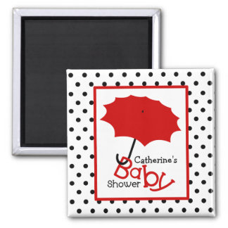 Red Umbrella Baby Shower - Black Polka Dots Magnet