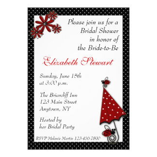 Red Umbrella Ladybugs Shower Personalized Announcements