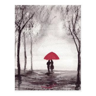 Red umbrella love couple postcard