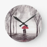 Red umbrella love couple round clock