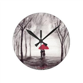 Red umbrella love couple round clock