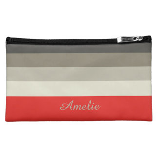 Red Umbrella Palette Stripes Personalized Makeup Bag
