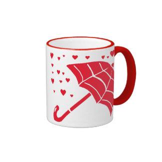 Red Umbrella Raining Hearts Mug
