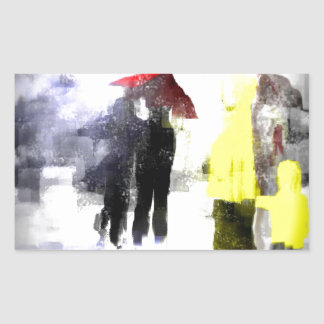 Red Umbrella Rectangular Sticker
