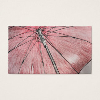 Red Umbrella Sketch Business Card