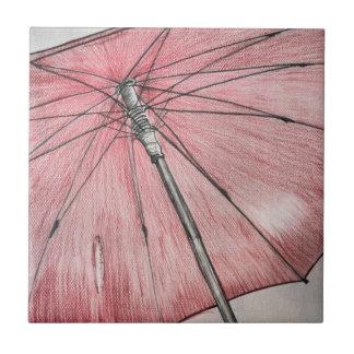 Red Umbrella Sketch Ceramic Tile