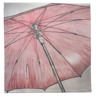 Red Umbrella Sketch Cloth Napkin