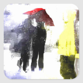 Red Umbrella Square Sticker